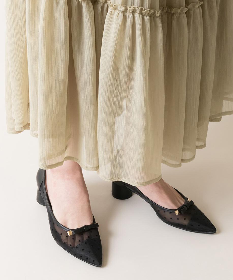 優雅款 網紗x點點柔軟蝴蝶結尖頭跟鞋/PP10016