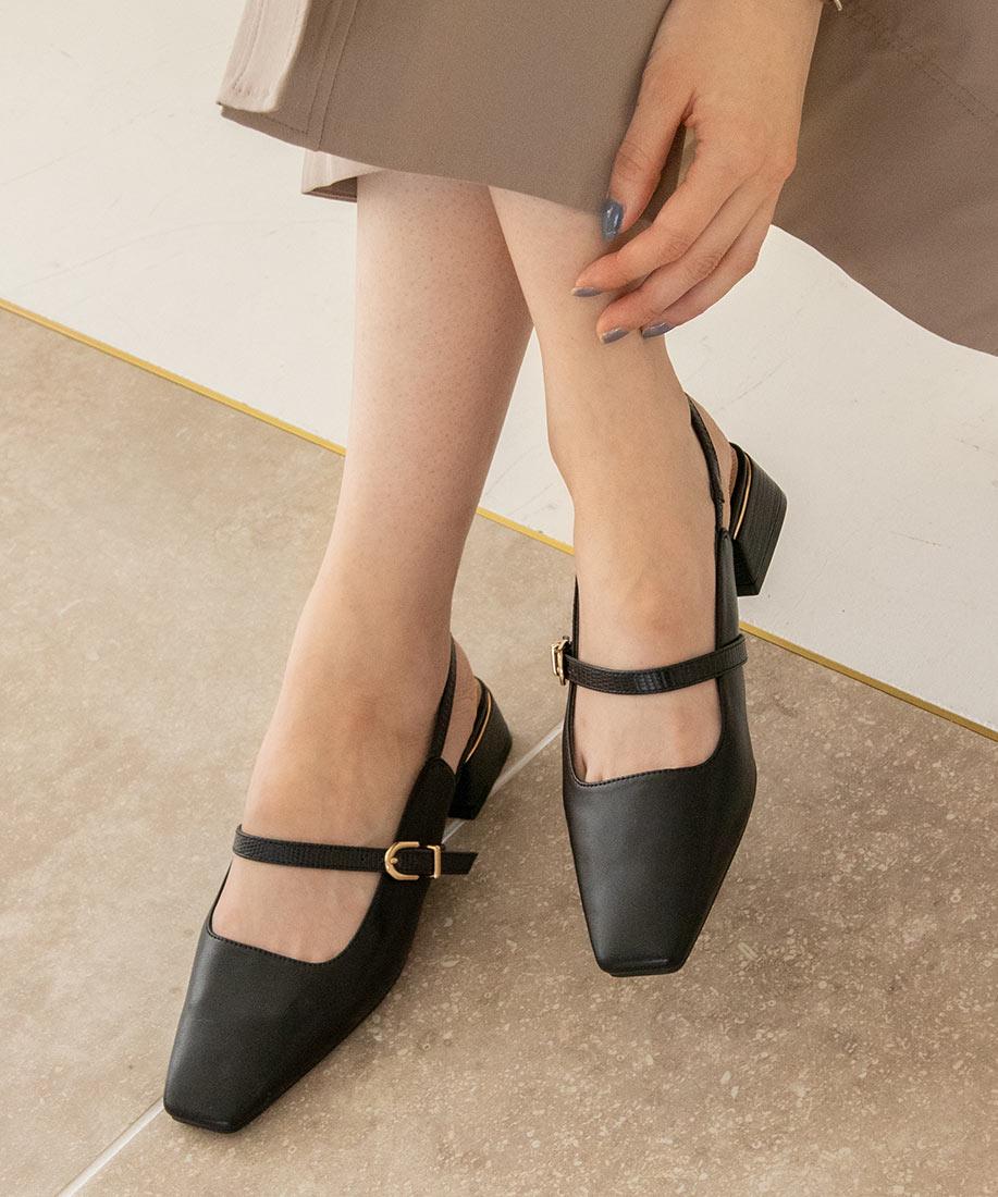 百搭款 柔軟撞色皮帶方頭低跟鞋/PD10502