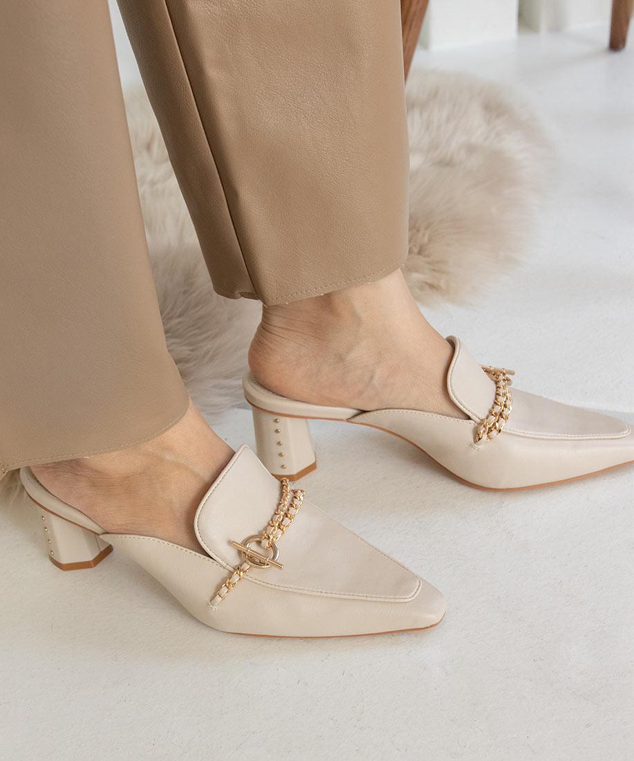 時尚金屬釦造型鞋跟穆勒鞋/DD10534