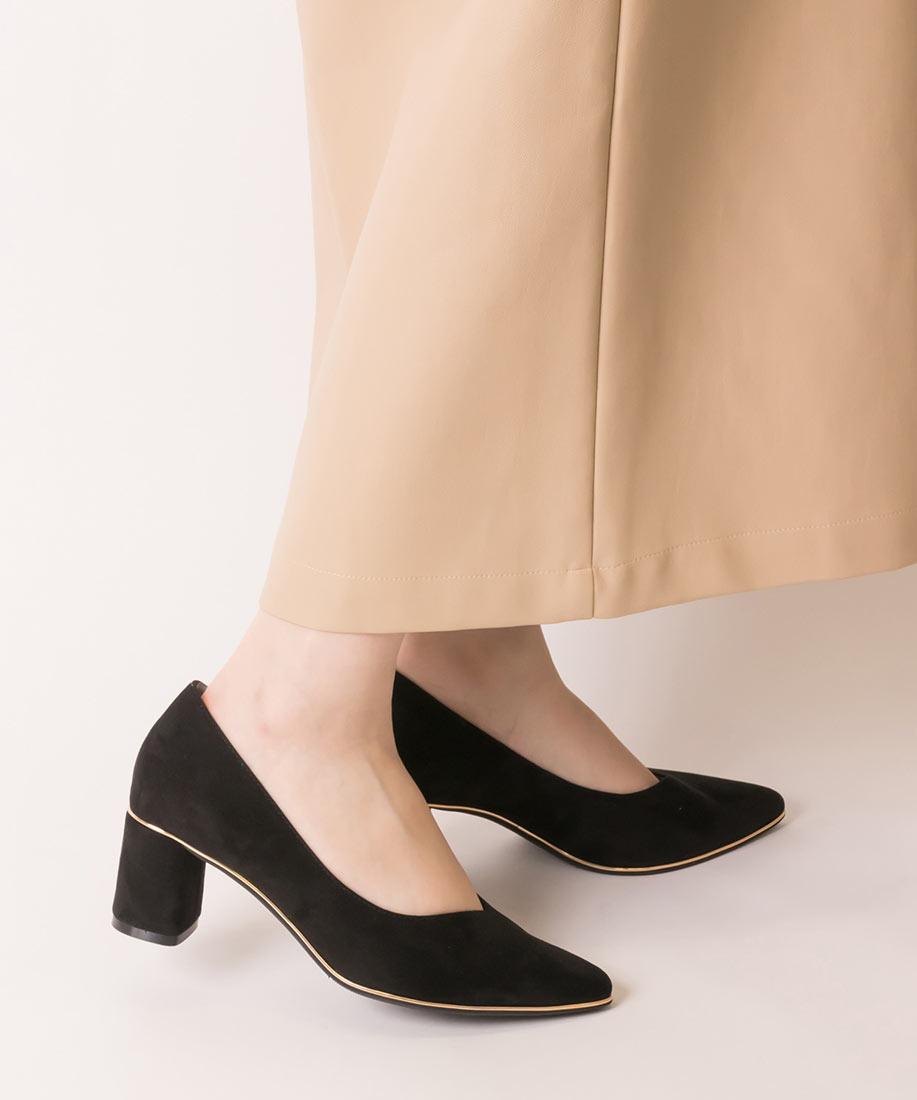 【3E寬楦x棉花糖系列】 美腳V剪裁柔軟金邊粗跟鞋/DP10544