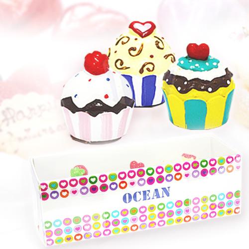 [辦公室美雜小物] OCEAN 甜美杯子蛋糕造型潤唇膏3入組