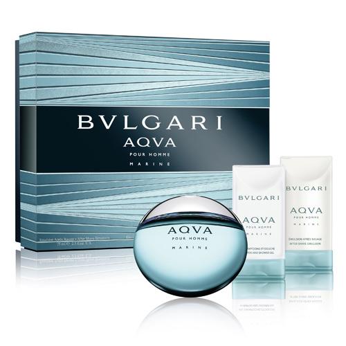BVLGARI 寶格麗水能量香氛禮盒(50ml香水+75ml沐浴膠+75ml鬍後乳)