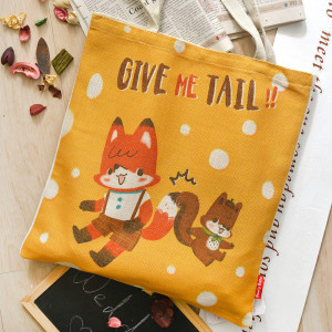 Fancy Belle X LaLaWoodland《Give Me Tail》麻織購物袋
