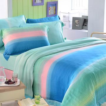 英國Abelia《藍茵湖畔》特大木漿纖維八件式兩用被床罩組