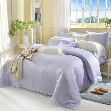 義大利La Belle 特大天絲蕾絲防蹣抗菌吸濕排汗兩用被床包組-愛莉兒-粉紫