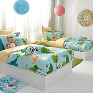 義大利Fancy Belle《好朋友的派對》雙人防蹣抗菌吸濕排汗兩用被床包組