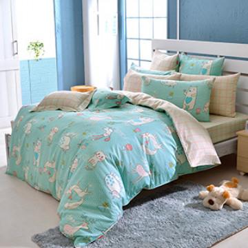 義大利Fancy Belle《甜蜜夥伴》單人防蹣抗菌吸濕排汗兩用被床包組