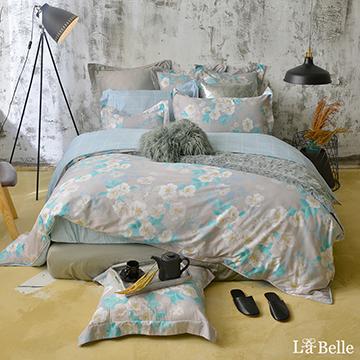 義大利La Belle《恬靜時光》雙人純棉防蹣抗菌吸濕排汗兩用被床包組