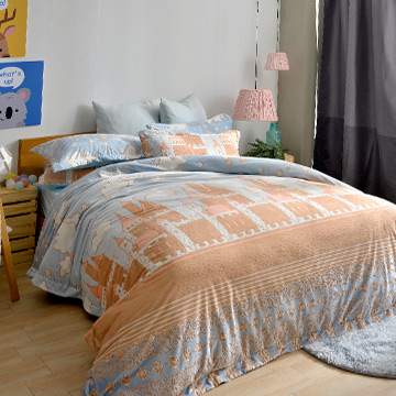 義大利La Belle《洛德城堡》加大立體雪雕絨防蹣抗菌吸濕排汗被套床包組