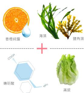 香橙、香橙精油、傳明酸、海藻萃取液、鹽角藻萃取、萵苣萃取、維他命C、均勻膚色、白皙透亮、美白