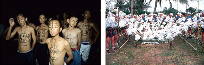 在kapituwan (第七) 期時會舉行猴祭。刺猴前夕,少年們會進行挨家挨戶驅邪儀式 (halapakay),然後向草猴 (60年前以真猴為對象) 行刺猴儀式。