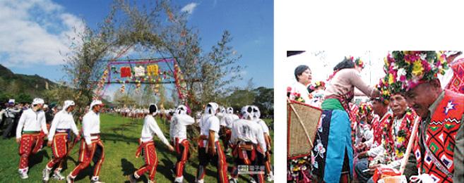 圖:約在kawaluan(第八)時行大獵祭。男性英勇回凱旋門並接受婦女獻花。