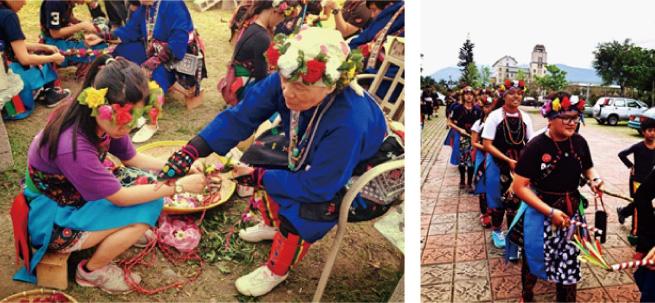 圖:kapuluan(第十)時舉行小米除草祭,除了編織花環,婦女除草完工慶更手持荖藤及銅鐘出發至小米集力所。