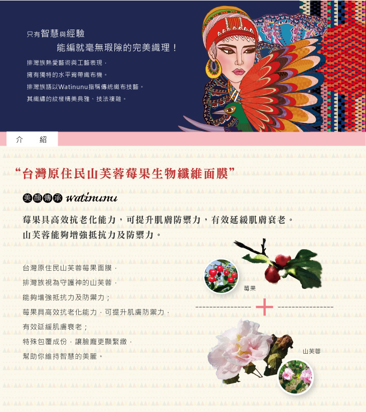 台灣原住民山芙蓉莓果生物纖維面膜