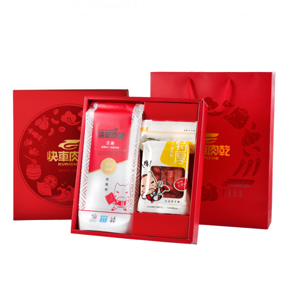 【快車肉乾】經典雙饗中禮盒 (香脆肉紙+特厚蜜汁/元氣條/泰式檸檬)
