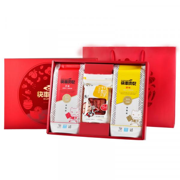 【快車肉乾】經典雙饗大禮盒 (香脆肉紙x2+特厚蜜汁豬肉乾)