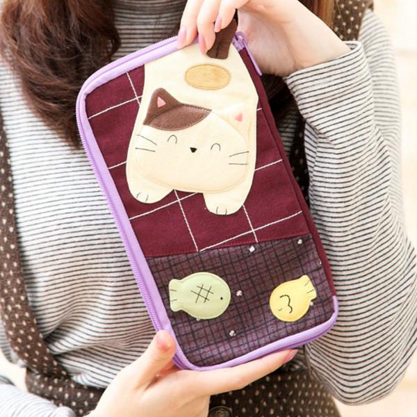 【220513】二毛貓全封式護照收納包/小物包/5.5吋手機包