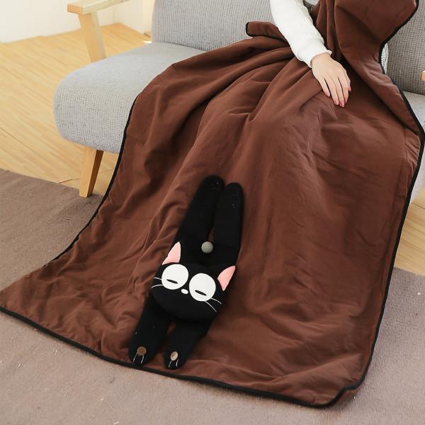 【230422】小黑貓兩用被/造型收納涼被/舒適親膚棉被