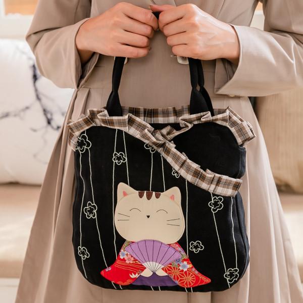 和服貓 荷葉邊 造型 拼布包/手提包/外出包【210847】