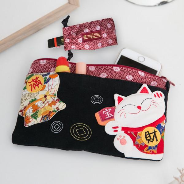 【221910】財源滾滾貓咪存摺收納袋/印章/護照/小物包