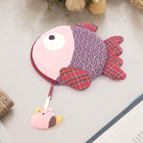 小金魚 花布 立體造型 卡片零錢包/耳機收納袋【221982】