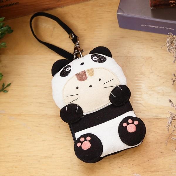 熊貓造型 透明視窗識別證/零錢包/鑰匙收納包【222225】