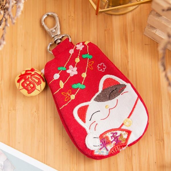 Kiro貓 拼布包 拉鏈小物收納/鑰匙零錢包【222271】