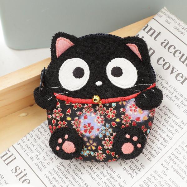 【222285】小黑貓花布零錢包/硬幣包/小物包/耳機包