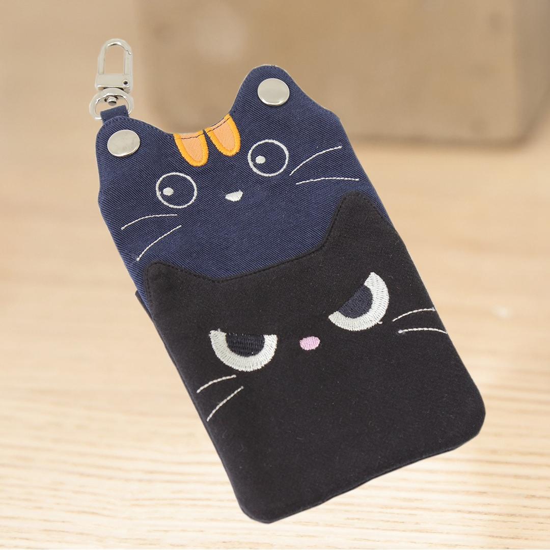 小黑貓 造型 識別證套/手拿包/手機收納包【222314】