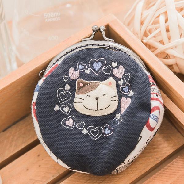 【222422】愛心貓口金包零錢包/硬幣包/小物收納/復古風