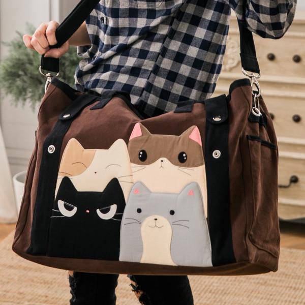 貓咪家族 大容量 手提/斜背/旅行袋/行李袋【211236】