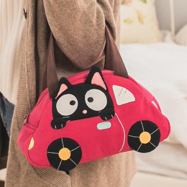 【211240】小黑貓手提包便當袋/野餐袋/餐具袋/汽車造型