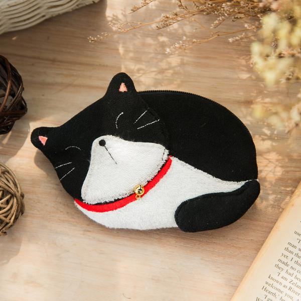 賓士貓 造型 毛巾布零錢包/小物收納包【222665】