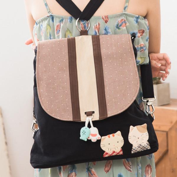 【211262】貓姐妹兩用包後背/斜背/翻蓋式/休閒包/可收納A4