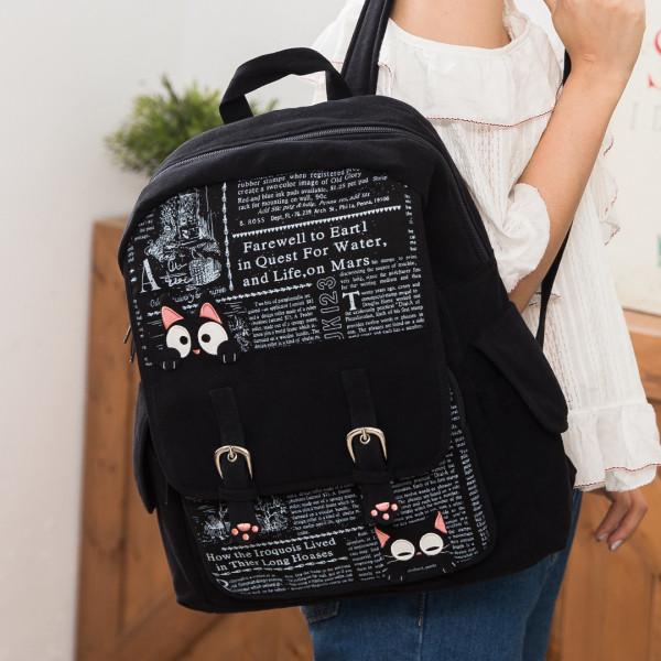 【211276】貓掌小黑貓雙肩後背包/手提/旅行包/可收納A4