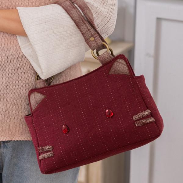 紅寶石貓妹妹 先染布 手提包/手拎包/輕便包【270042】