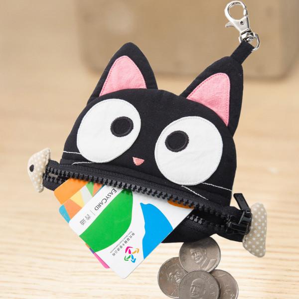 【222691】魚骨小黑貓零錢包/硬幣包/小物包/識別證套/吊飾
