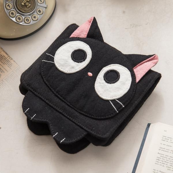 小黑貓 多卡層 造型卡套/票卡夾/拼布包證件包【222704】