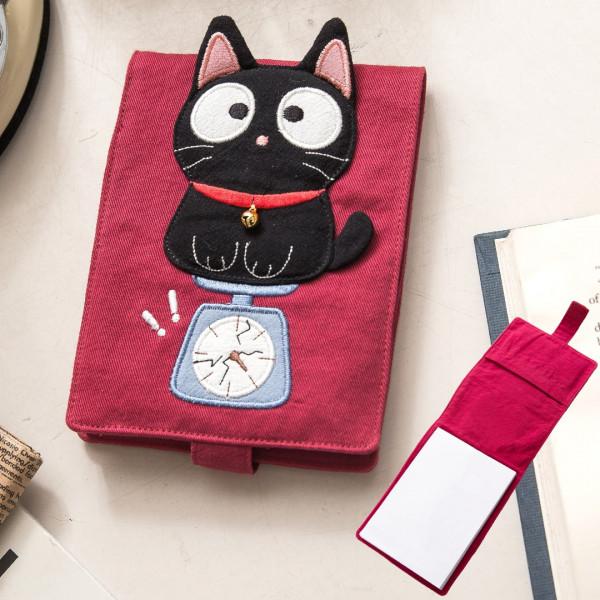 【222722】小黑貓筆記本套組/手帳簿/隨手筆記/布書套