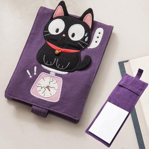 【222724】大眼小黑貓筆記本套組/手帳簿/隨手筆記/布書套