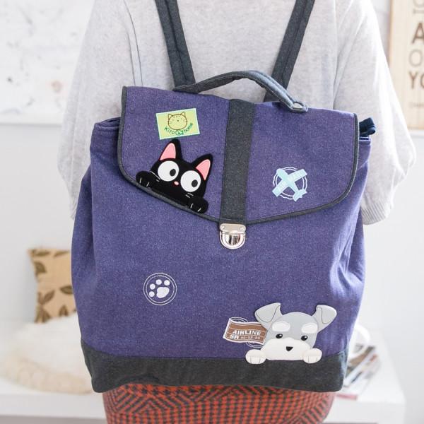 【211224】雪納瑞&小黑貓兩用包/手提/後背包/旅行/大容量/可收納A4
