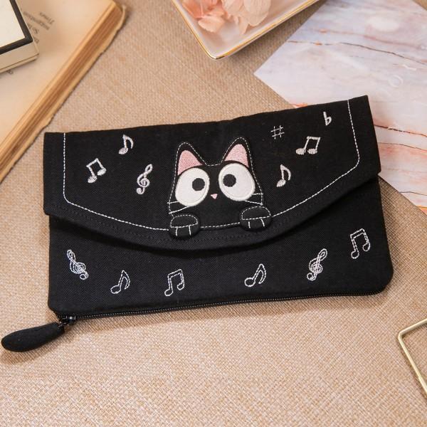 小黑貓多卡層 音符造型鈔票收納/錢包/長布夾【222736】
