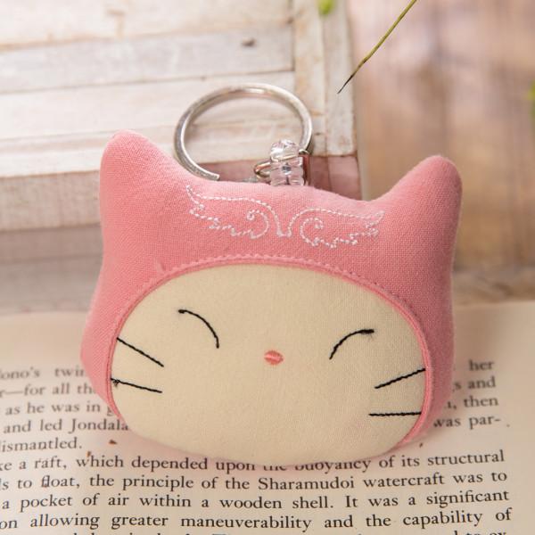 【222747】天使貓大頭伸縮吊飾/鑰匙圈/鋪棉/立體造型