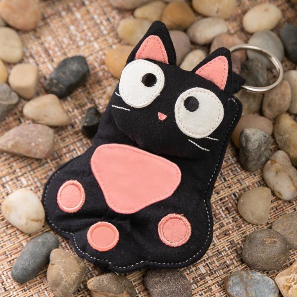 【222711】貓掌小黑貓立體造型鑰匙套/鑰匙圈/防刮/鋪棉