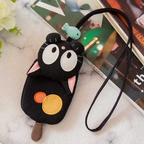 【221800】小黑貓愛吃魚零錢包/識別證件套/鑰匙圈/兒童掛脖/鋪棉