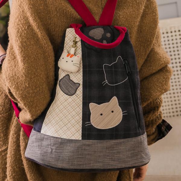 【270043】小貓臉譜後背包/手提旅行包/水滴包/先染布
