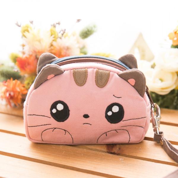 【820008】小貓咪雙面零錢包/雙層拉鍊包/小物包/附手勾繩