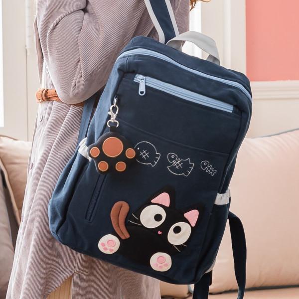 【810002】黑肉球小黑貓後背包/手提/雙肩休閒後背包/可收納A4