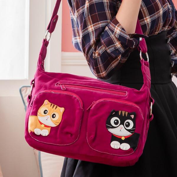 【810010】雙貓臨門拼布包/兩用包/肩背/斜背包/可收納9.7吋平板