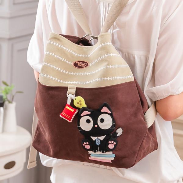愛讀書小黑貓 大容量 拼布包斜背/後背包/兩用包【810011】